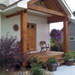 Front Porch, Purple Flower Plants On Pots And Soil, River Stones, Path