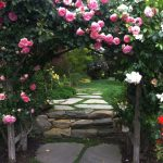 Garden Arbor Ideas Rustic Wooden Arbor Stone And Grass Path Green Grass Plants Stone Stairs Pink Rose Planting