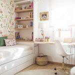Girl Teen Room, Wooden Floor, Grey Rug, White Floating Table, White Modern Office Chair, White Wooden Shelves As Headboard, Small White Bed Platform, Flower Wallpaper, Chandelier