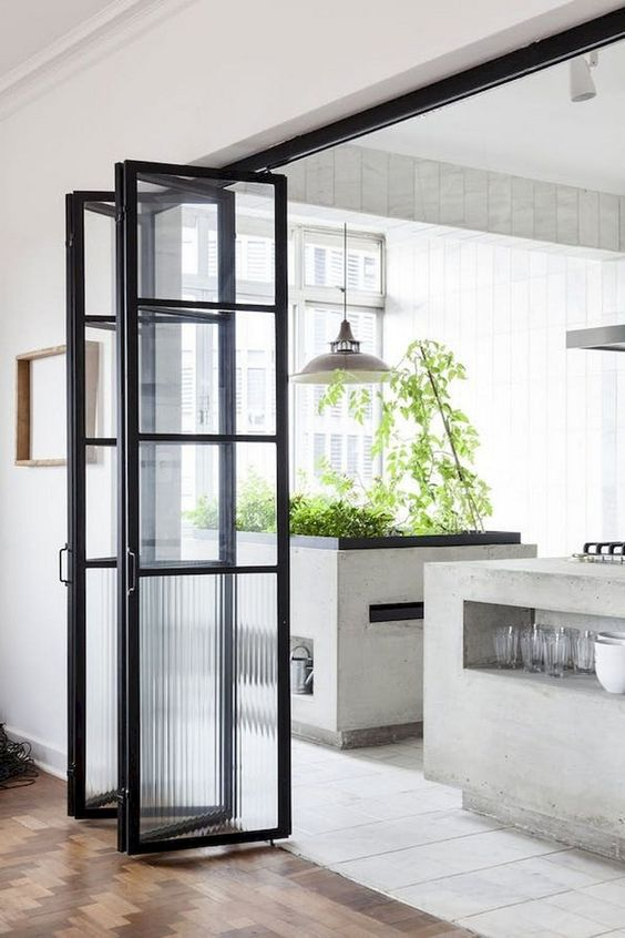 glass partition, foldable, black frame, part the kitchen, wooden floor floor, white floor, grey island