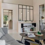 Glass Partition For Living Room, Wooden Floor, Grey Sofa, Coffee Table, Shelves