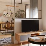 Glass Partition For Living Room, Wooden Floor, Wooden Low Cabinet For TV, Round Coffee Table, Dining Set