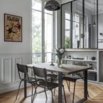 Glass Partition On Wooden Shelves, Wooden Floor, Dining Set Table, Silver Pendant, White Wall