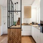 Glass Partition On Wooden Siland, Woden Floor, White Cabinet, White Wall, Wooden Kitchen Top