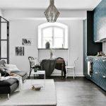Glass Partition With Black Metal Frame, Door On The Side End, Black Sofa, Grey Rug, Dining Set, Kitchen, Black Floor, Pendant