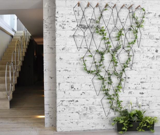 hexagonal wire on the wall, open brick wall, vine, black long pot
