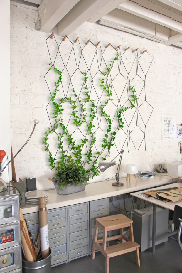 hexagonal wire on the wall, vine plants, plant on pot, study table, wooden stairs chair, grey cabinet
