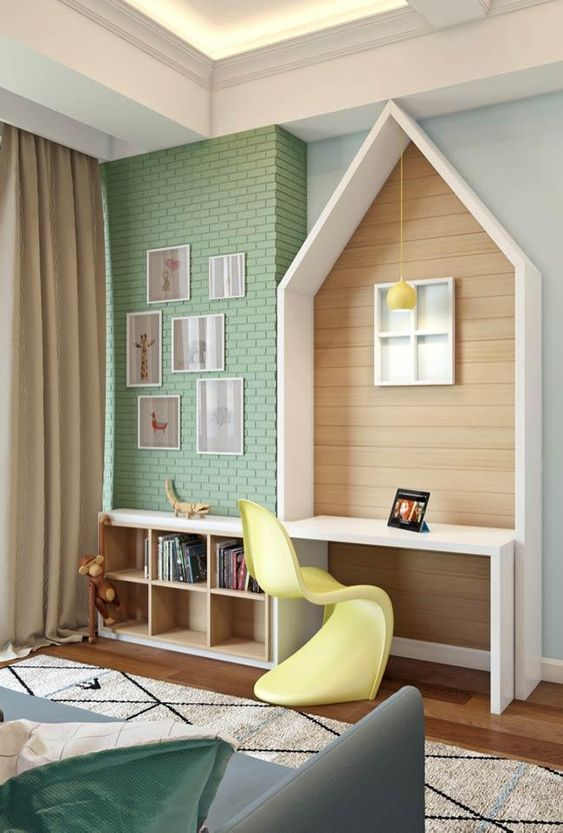 house white wooden box with white table wooden wall, wooden floor, wooden shelves, rug, blue sofa, green open brick