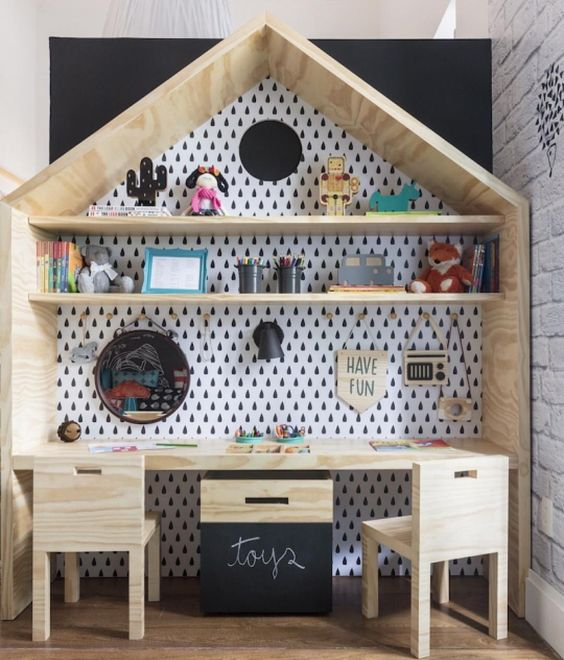 house wooden box for study table with shelves, rain wallpaper, low wooden chair, wooden box