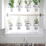 Hung White Plants Pots From Horizontal Wood For Window Screen, Window Shade, White Backsplash Tiles, Marble