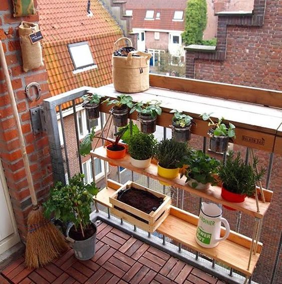 hung wooden shelves with wooden table on the rail, bottles on the rail, wooden floor tiles