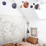 Kids Bedroom, Warm Bedding, White Wall, Map On The Wall, Planets Ceiling Decoration, Wooden Bedside Table