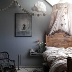 Kids Bedroom With White Rug, Grey Wall, Wooden Bed Platform, Rattan Chair, Pink Canopy, White Fluffy Cloud Decoration