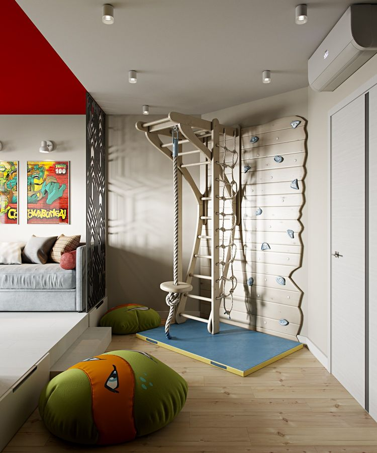 kids bedroom with wooden floor, climbing board, swing, wooden stage with bed, red ceiling, orroman, ceiling lamp