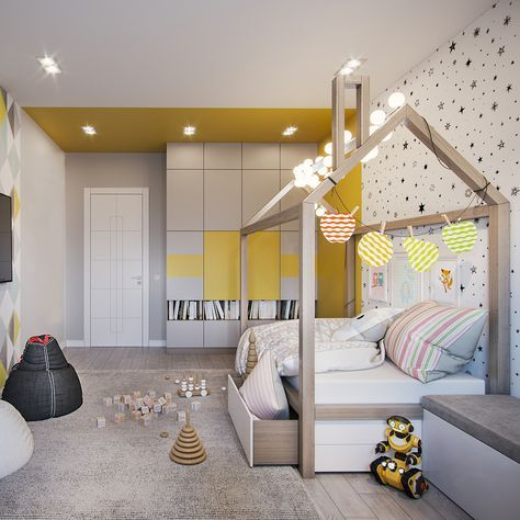 kids bedroom with wooden floor, grey rug, white wall, wooden bed platform with storage under, built in cupboard with shelves