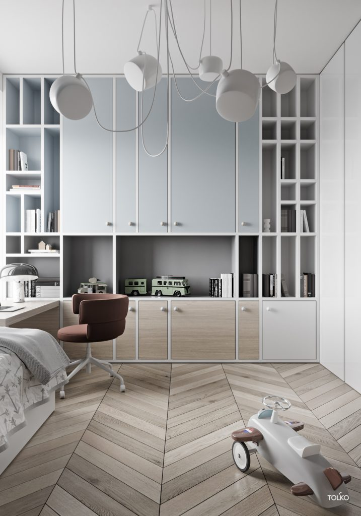 kids bedroom, wooden chevron floor, bedding, built in cabinet with shelves, built in table, offive chair, white ceiling lamp