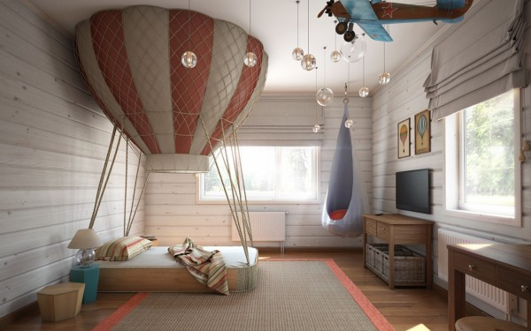 kids bedroom, wooden floor, grey rug, wooden planks wall, white ceiling, bed with hot air balloon above, grey hammock, wooden cabinet, clear glass bulbs, biplane decoration