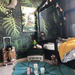Kids Bedroom, Wooden Floor, Leave Rug, Black Wooden Bed With Posts, Dark Leaves Wallpaper, Stuffed Animal