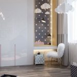 Kids Bedroom, Wooden Floor, White Built In Cupboard, Built In Study Table With Drawer, Stars And Clouds Decoration, Table Lamp, Cloud Paper Decoration