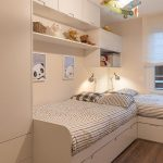 Kids Bedroom, Wooden Floor, White Wooden Built In Bed, Shelves, Cabinet, And Cupboard, Biplane Pendant