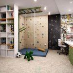 Kids Room, Beige Floor, Climbing Wall, Monkey Bar, White Shelves, White Table, Green Cabinet, Blackboard, Matress