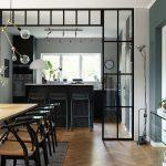 Kitchen, Black Tall Island, Stool, Herringbone Wooden Floor Tiles, Wooden Dining Set, Pendant