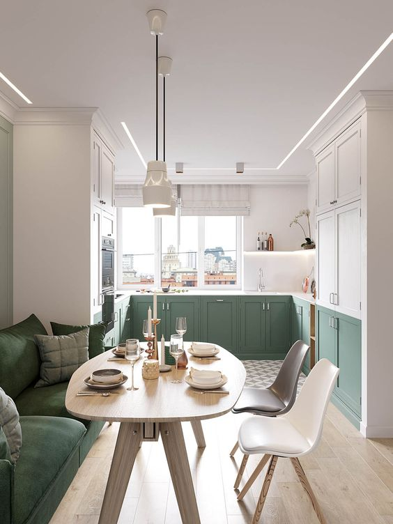 kitchen, green bottom cabinet, white wall, windows, floating shelves, white green cupboard, white pendant, dining set with green sofa, wooden table, white black chair