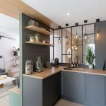 Kitchen, Grey Cabinet, Glass Partition, Open Shelves, Pendants
