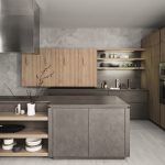 Kitchen, Light Wooden Floor, Grey Cabinet, Grey Cabinet, Wooden Shelves On Island, Wooden Floating Cabinet, Wooden Shelves With LED Lights, Wooden Cabinet Pantry