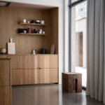 Kitchen, Smooth Floor, Natural Wooden Cabinet, Natural Wooden Wall And Ceiling On The Kitchen Area, Wooden Island, Wooden Stool
