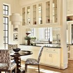 Kitchen, White Cabinet, White Partition With Cabinet, Black Top, Upper Cabinet, White Pendant, Dining Set