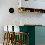 Kitchen, White Hexagonal Backsplash, White Upper Cabinet With Shelves Under, Green Cabinet And Island, Wooden Island Top, Modern Wooden Stools With White Seating