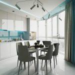 Kitchen, White Seamless Floor, Glossy White Upper And Bottom Cabinet, Blue Backsplash With LED Light, Modern Pendant, White Ceiling