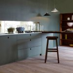 Kitchen With Grey Built In Cabinet, Grey Wall, ,mirror Backsplash, Wooden Island Table Bar, Wooden Stool, Pendant