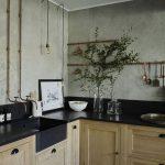 Kitchen, Wooden Cabinet, Black Knob, Black Marble Top, Black Undermount Sink, Golden Faucet, Golden Rail, Grey Wall