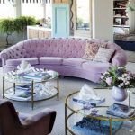 Light Purple Long Sofa With Tufted Back, Four Seatings, Velet Material, Declining Armrest