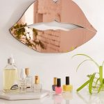 Lips Shaped Mirror With Pink Shade Above White Top