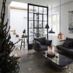 Living Room, Old Seamless Floor, Glass Partition, Black Chair And Sofa With Black Cushion, Black Pendants, Copper Pendant, Black Coffee Table, Glass Window, Side Table