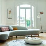 Modern Light Blue Curvy Sofa With Not Fukk Backm Wooden Support