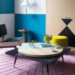 Modern Living Room, Low Chair, Yellow Ottoman, Square Low Coffee Table With Round Level, Purple Rug