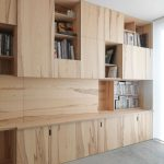 Natural Wood Look On Tall Bookcase With Open And Closed Shelves