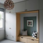Nook In The Middle Of The Cupboard, Wooden Bench With Drawers Under, Wooden Side,