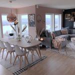 Open Living Room, Wooden Floor, Grey Sofa, Pillows, Pink Wall, Pink Golden Pendant, Wooden Dining Set, Rug