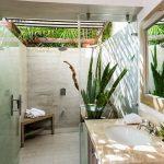 Outdoor Bathroom Ideas Shower Head Plant Wooden Corner Bench Wooden Vanity Beige Countertop Sink Faucet Wall Mirror Glass Shower Door