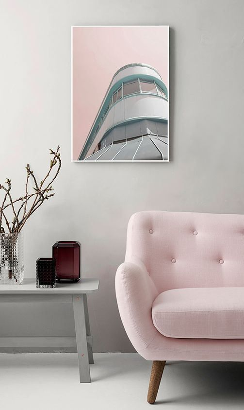 pale pink sofa with tufted back, modern line, wooden legs
