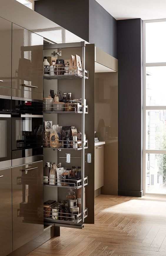 pantries with deep drawers supported by metal