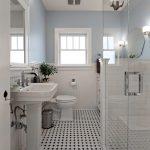Pedestal Bathroom Vanity Black White Mosaic Floor Tile Glass Shower Doors Toilet Window Blue Walls White Rim Mirrored Cabinet Drawers Hexagonal Wall Mirror
