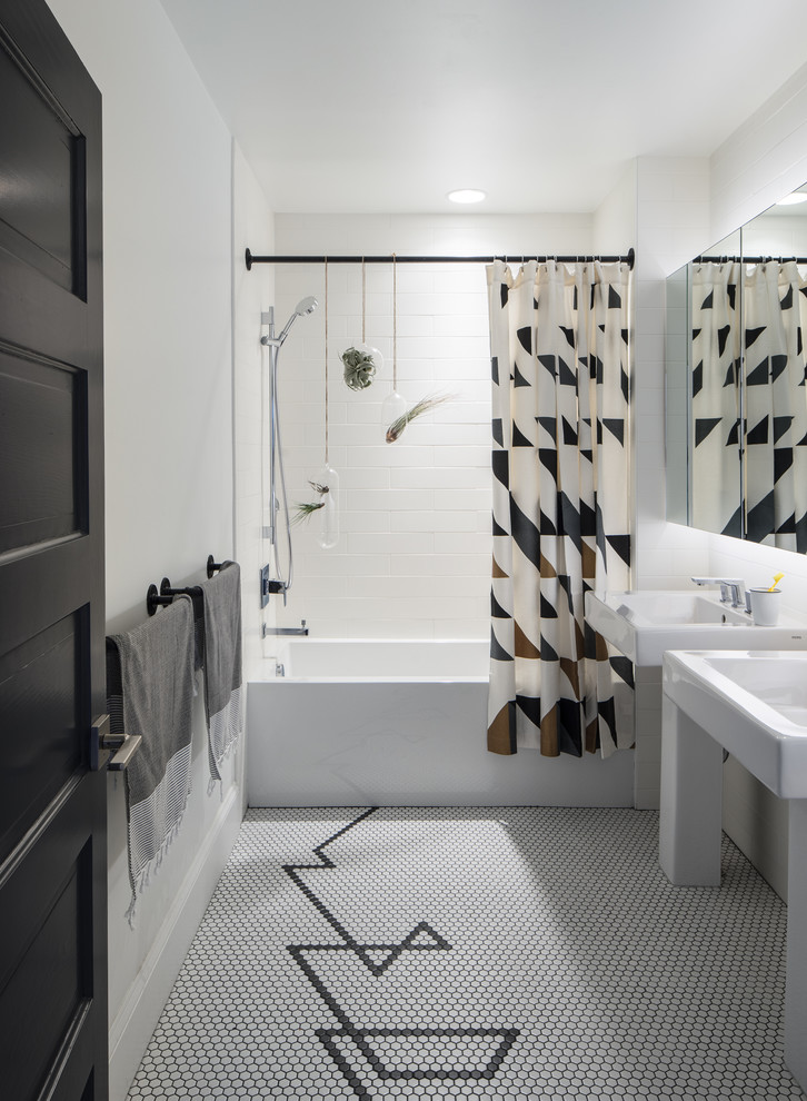 pedestal bathroom vanity shower curtain black curtain rog white wall mosaic floor tile black towel holder mirrored cabinet white built in tub recessed lighting