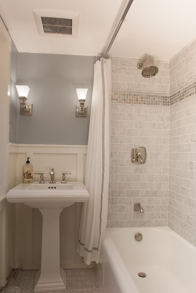 pedestal bathroom vanity wall sconces shower head built in tub white shower curtains whit trim gray wall gray wall tiles