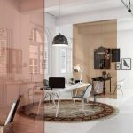 Pink Colored Glass Partition, White Wooden Floor, Study Table, Office Chair, Pendant, Industrial Ceiling, Windows